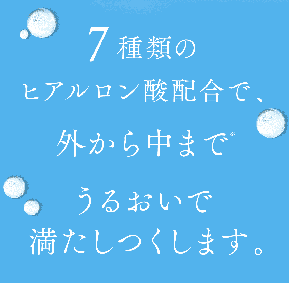 7種類のヒアルロン酸配合で角層の外から中までうるおいで満たしつくします。